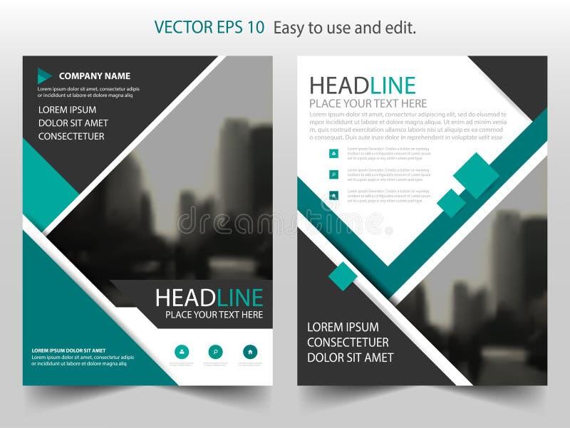 Grön vektor för mall för design för reklamblad för broschyr för årsrapport för svartabstrakt begrepptriangel, broschyrräkningspre stock illustrationer