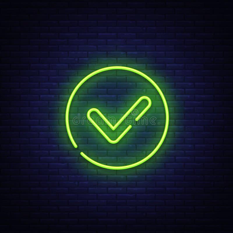 Grön vektor för tecken för neon för kontrollfläck Skylt för neon för knapp för kontrolllista, designmall, modern trenddesign, nat royaltyfri illustrationer