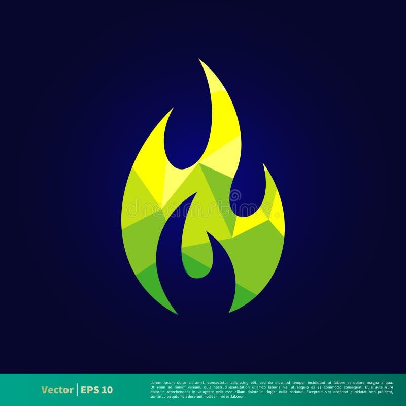 Grön vektor Logo Template Illustration Design för brandflammasymbol Vektor EPS 10 vektor illustrationer