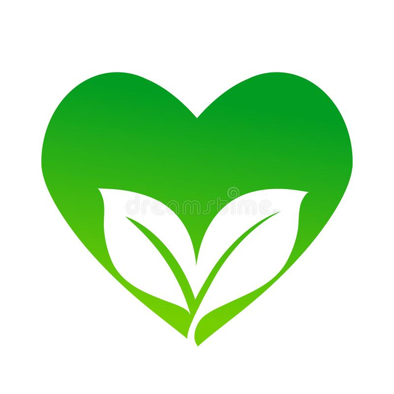 Grön vektorsymbol med hjärtasymbolet och två sidor, ecobegrepp, stock illustrationer