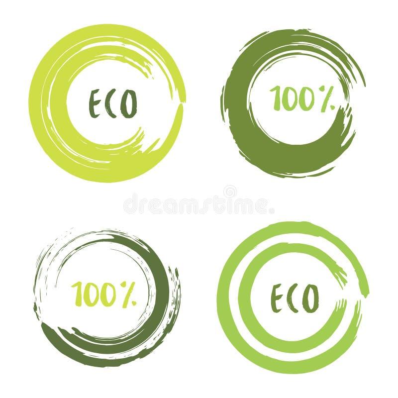 Grön vektoruppsättning med cirkelborsteslaglängder för ramar, symboler, banerdesignbeståndsdelar Grungeecogarnering vektor illustrationer