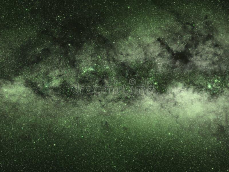 Grön Vintergatanutrymmebakgrund, stjärnor arkivfoton