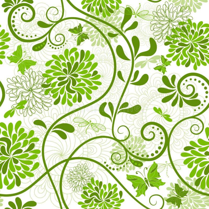 Grön-vit blom- modell stock illustrationer