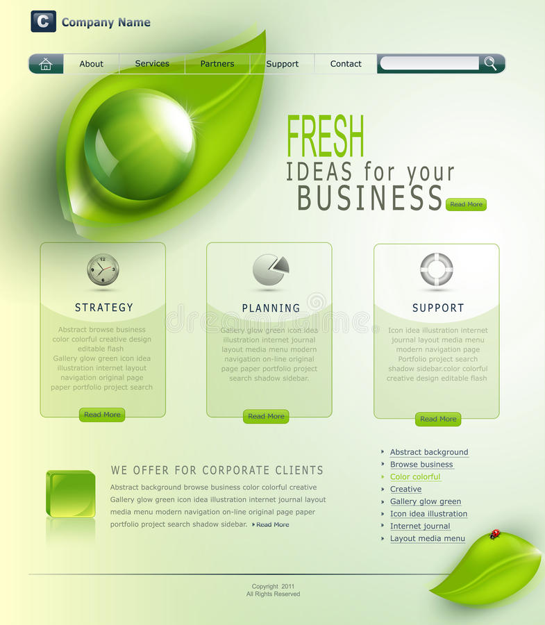 Grön website för vektor stock illustrationer