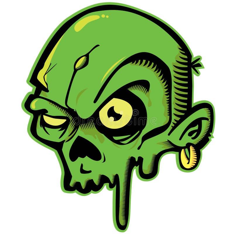 Grön zombie vektor illustrationer