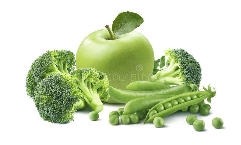 Gröna äpplebroccoliärtor isolerade sammansättning royaltyfri foto