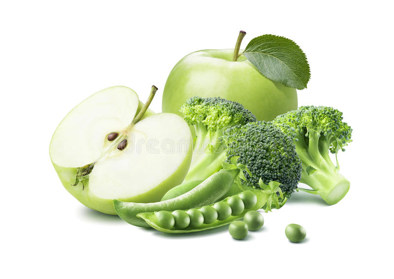 Gröna äpplebroccoliärtor 4 på vit bakgrund royaltyfria bilder
