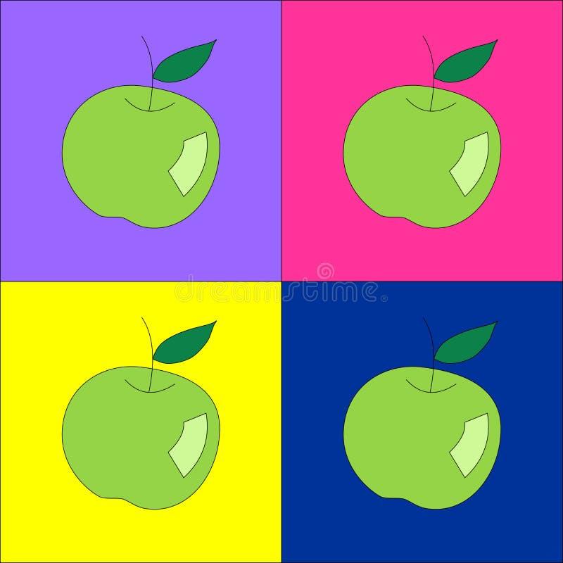 Gröna äpplen royaltyfri illustrationer