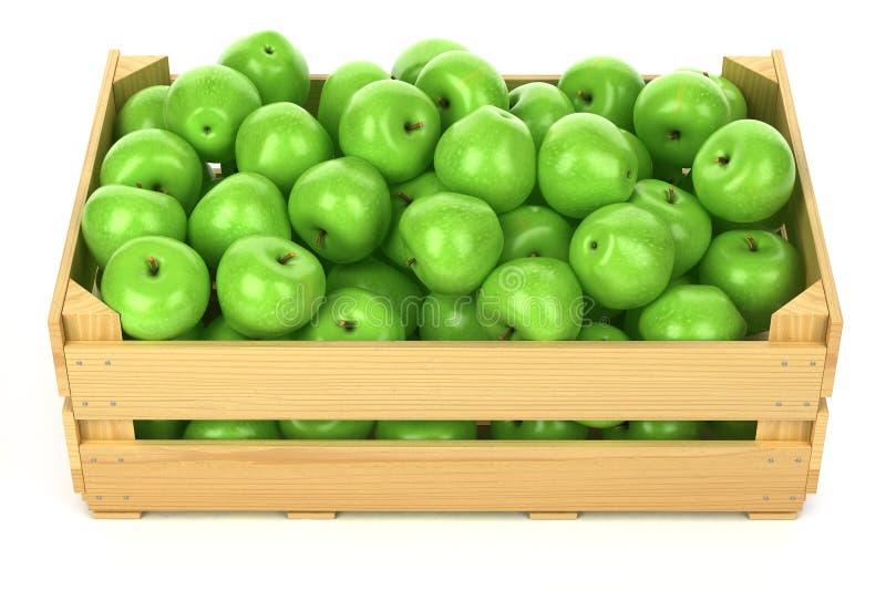 Gröna äpplen i träspjällådan royaltyfri illustrationer