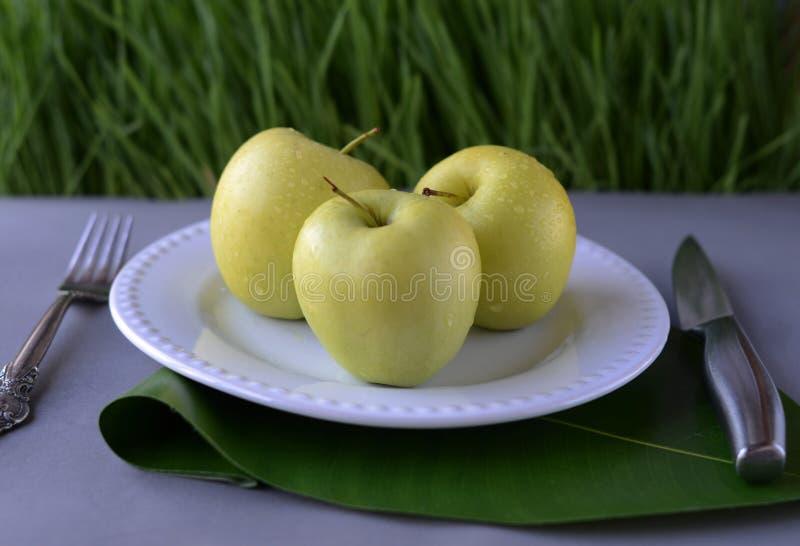 Gröna äpplen på en vit platta tjänade som med en kniv och en gaffel på en grå tabell mot bakgrunden av gröna plantor Begrepp: dö arkivbilder