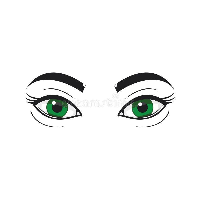 Gröna ögon - illustration kvinna för granskning s för århundrade för 20 skönhet retrospektiv xx makeup vektor illustrationer