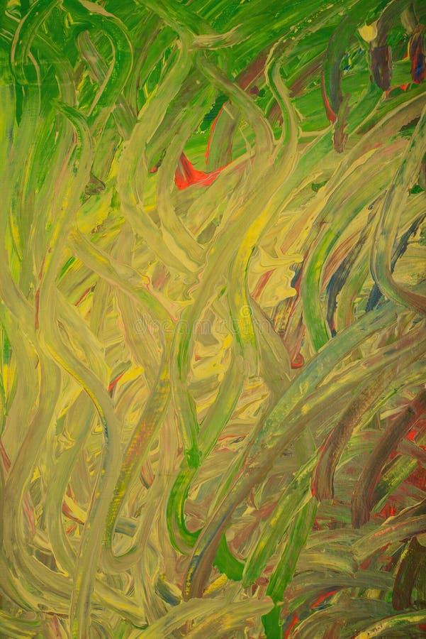Gröna alger och groda under dragit vatten illustration arkivbilder