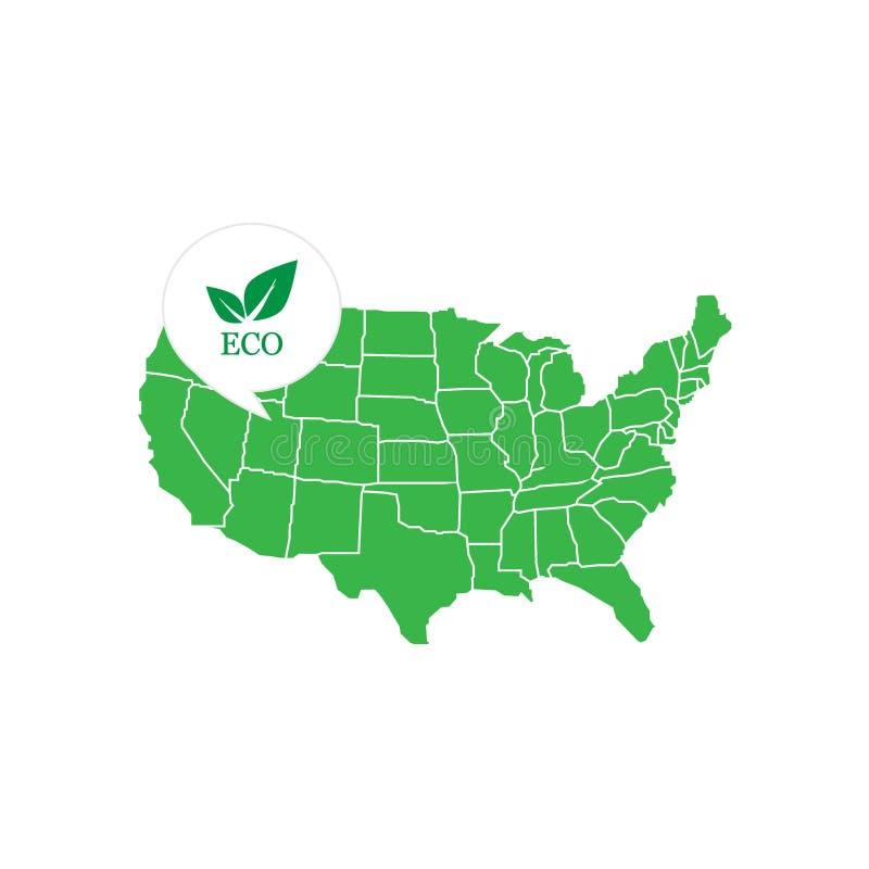 Gröna Amerika med den miljö- fläcken stock illustrationer