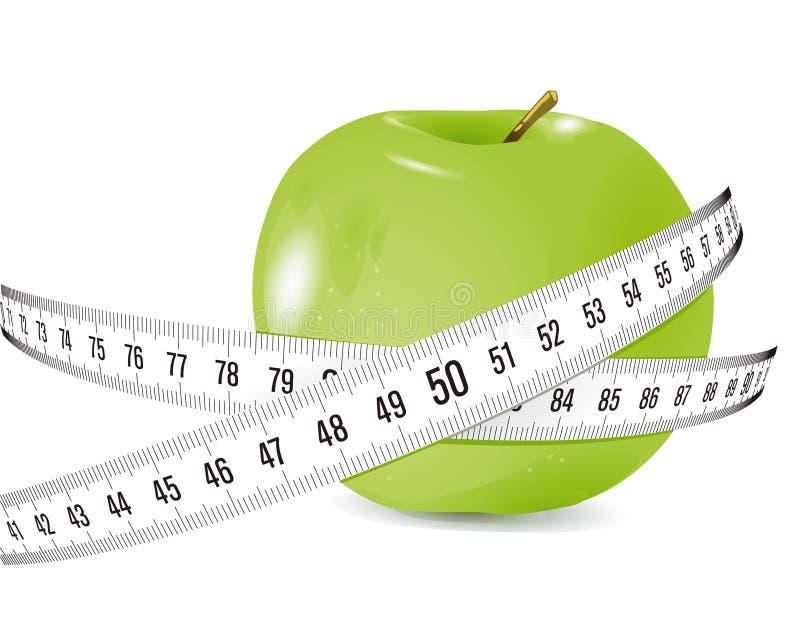 Gröna Apple och mätande band royaltyfri illustrationer