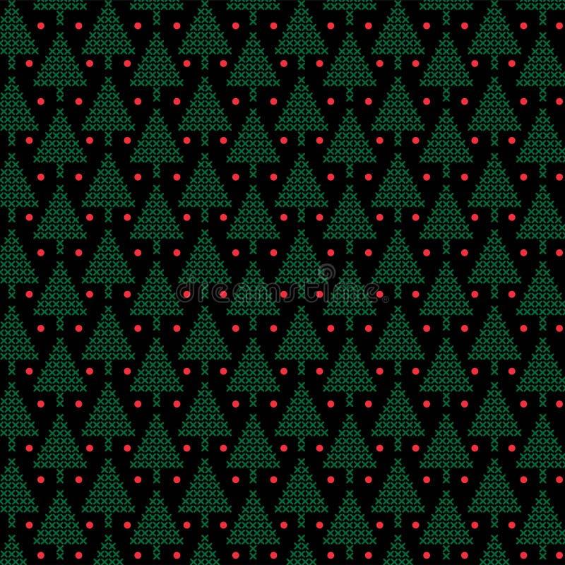 Gröna arga häftklammerjulträd på svart bakgrund vektor illustrationer