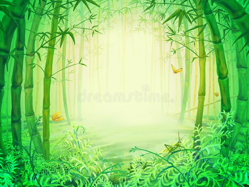 Gröna bambuträd inom skogen stock illustrationer