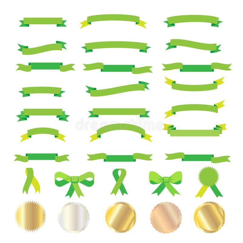Gröna band och guldetiketter vektor illustrationer