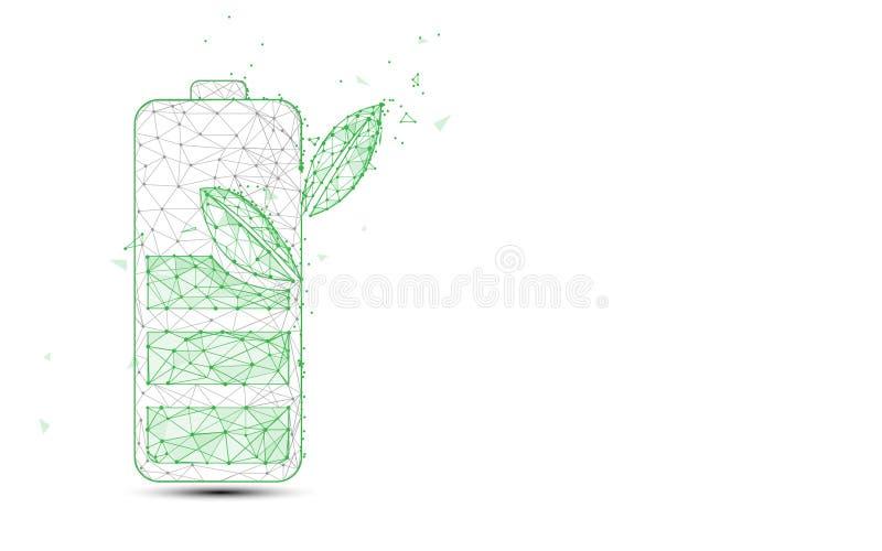 Gröna batteri- och växtformlinjer och trianglar, punktförbindande nätverksbakgrund många begreppsekologibilder mer min portfölj stock illustrationer