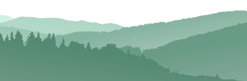 Gröna bergkonturer abstrakt bakgrund stock illustrationer