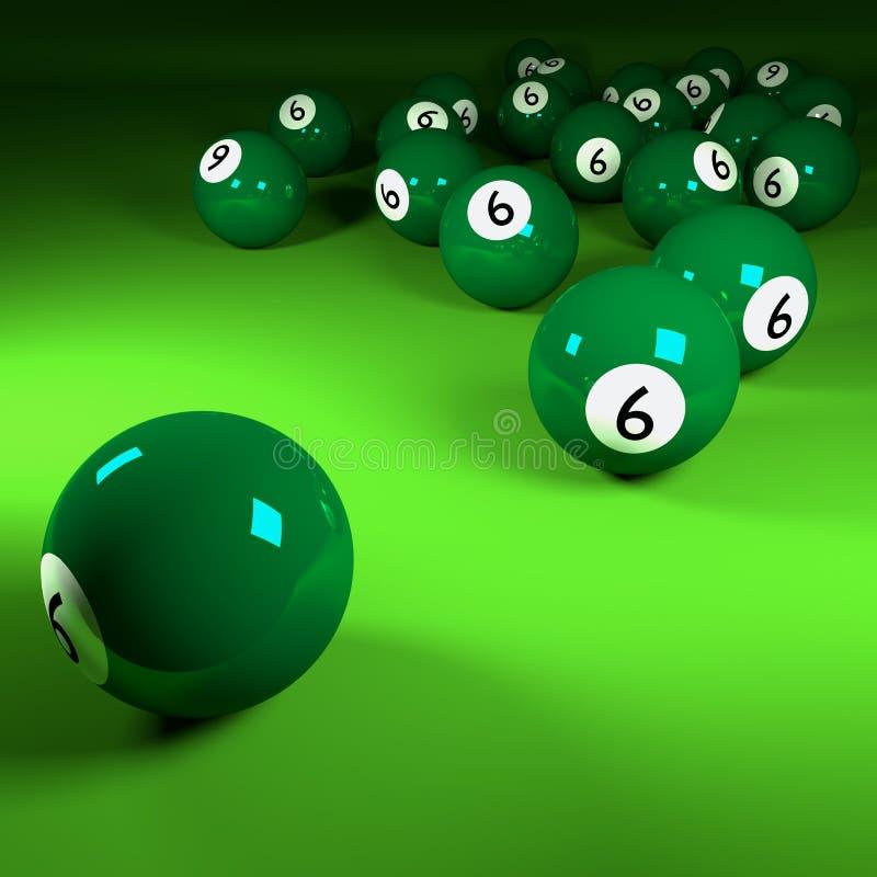 Gröna biljardbollar nummer sex royaltyfri illustrationer