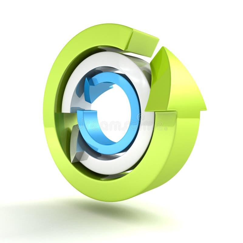Gröna blåa grå färger återanvänder begreppspilsymbolen på vit vektor illustrationer