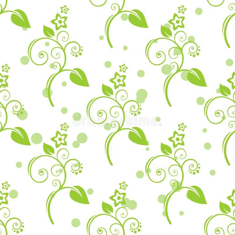 Gröna blom- seamless mönstrar stock illustrationer