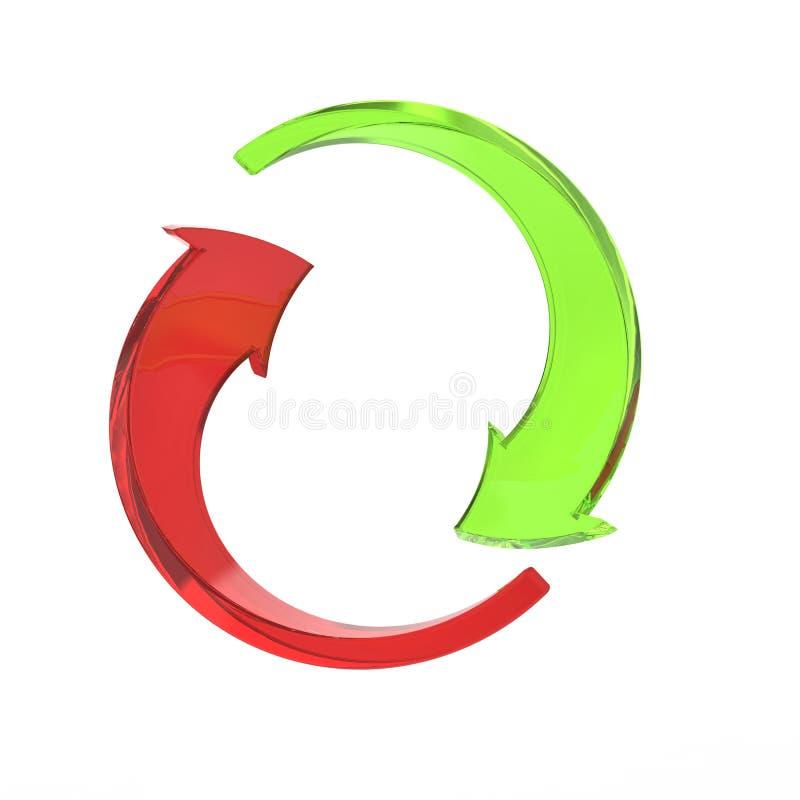 Gröna cirkelpilar - som är röda och vektor illustrationer