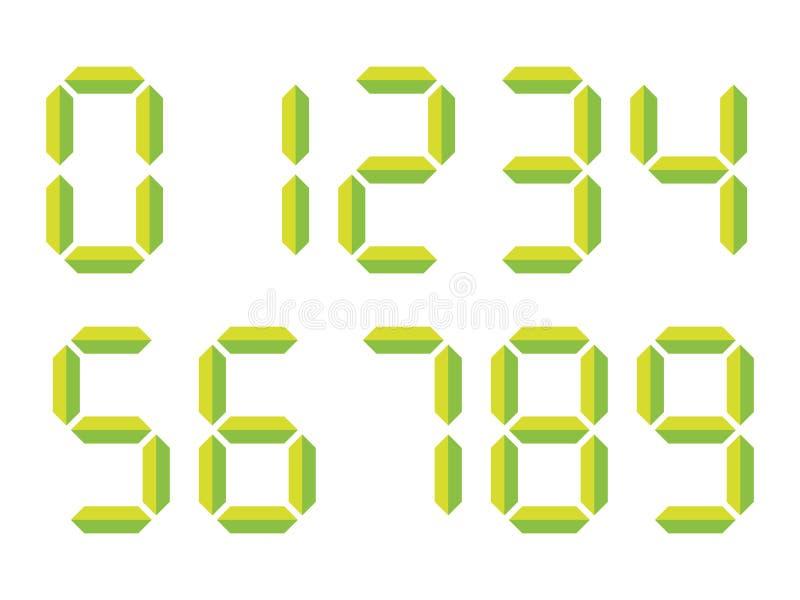 Gröna digitala nummer 3D-like Sju-segmentet skärm används i räknemaskiner, digitala klockor eller elektroniska meter vektor royaltyfri illustrationer