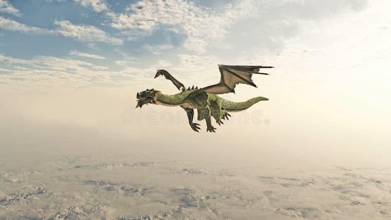 Gröna Dragon Flying till och med molnen vektor illustrationer