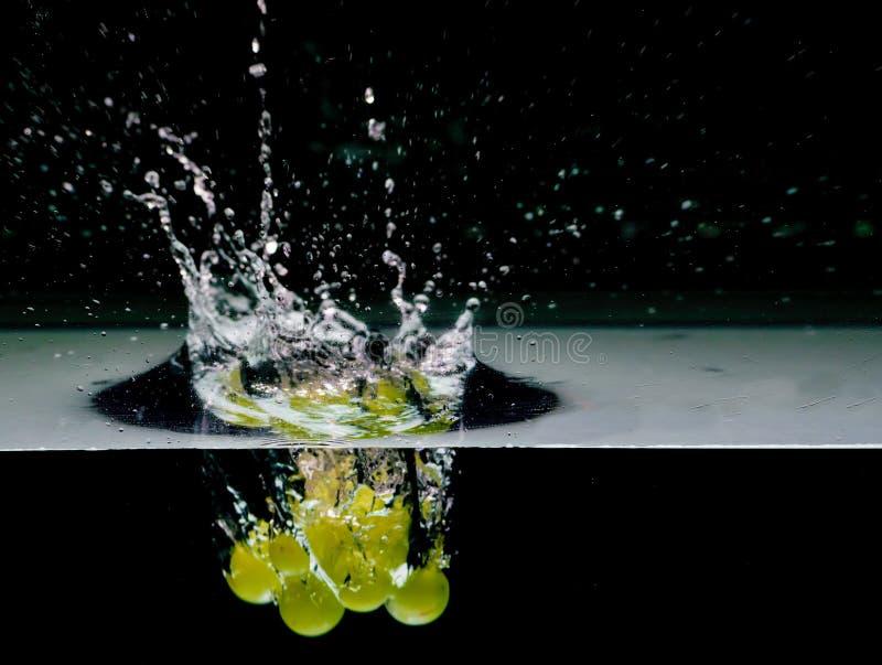 Gröna druvor in i vatten som isoleras på svart royaltyfri foto