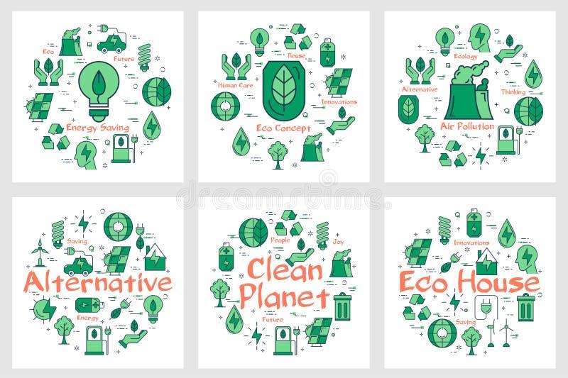 Gröna Eco begreppssymboler i samling stock illustrationer