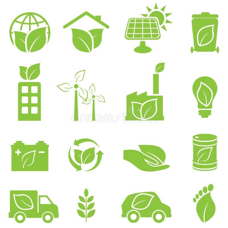 Gröna eco- och miljösymboler vektor illustrationer