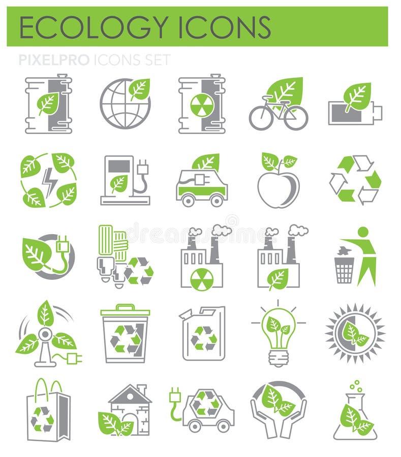 Gröna ekologisymboler och grå uppsättning på vit bakgrund för diagrammet och rengöringsdukdesignen, modernt enkelt vektortecken f vektor illustrationer