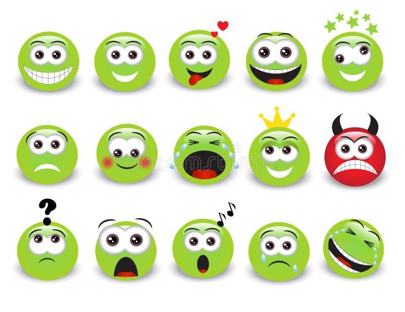 Gröna emoticons vektor illustrationer