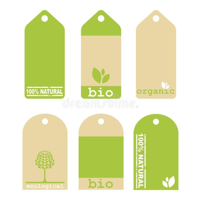 gröna etiketter för ekologi royaltyfri illustrationer