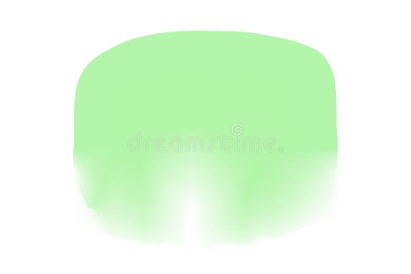 Gröna färger för vattenfärgfläckcirklar i digital målning för begrepp, gröna färger för illustration som är mjuka i stil för måla stock illustrationer