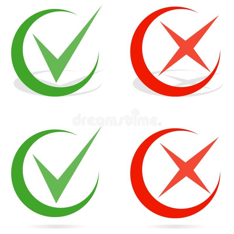 Gröna fästing- och Röda korsetcheckmarks Linje kontrollfläck royaltyfri illustrationer