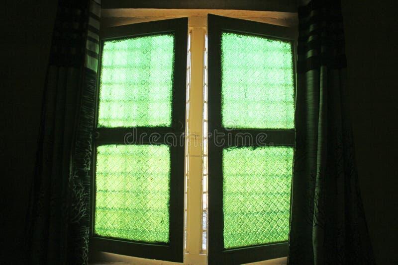 Gröna fönster från gammalt tappningexponeringsglas med blom- eller geometriskt PA royaltyfria bilder