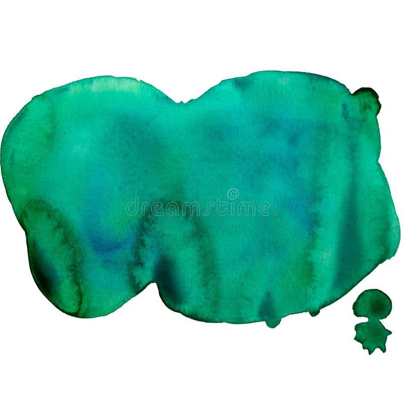 2 gröna för hand för vattenfärg utdragna och blåa fläckar med papperstextur royaltyfri illustrationer