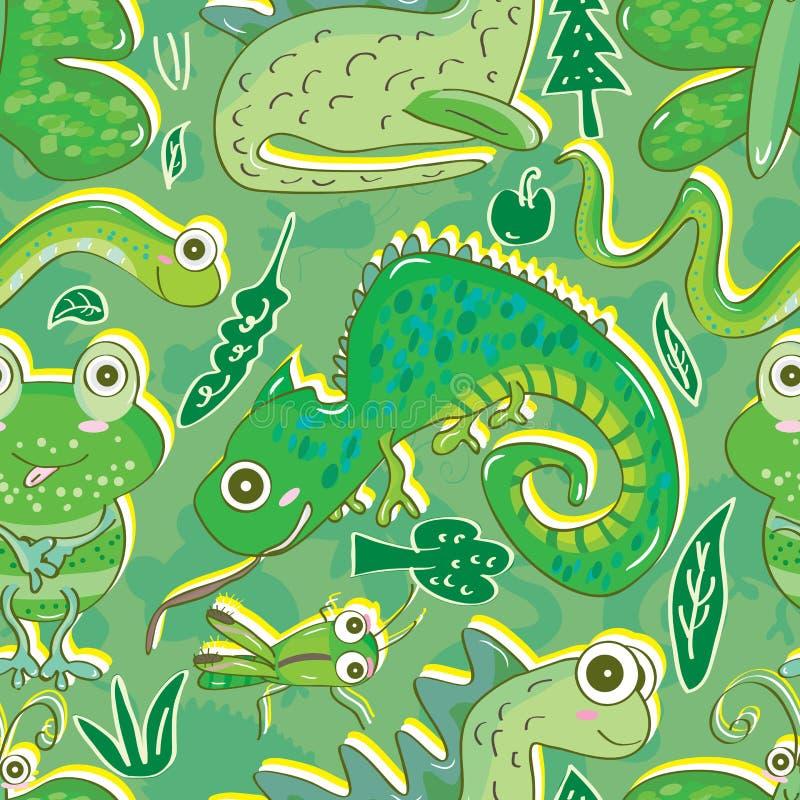 Gröna faunaFlora Seamless Pattern _eps stock illustrationer