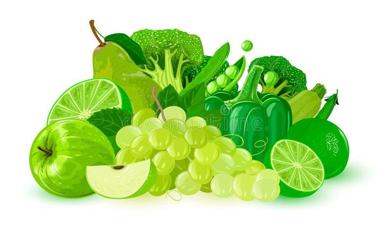 Gröna frukter och grönsaker: äpple limefrukt, druvor, paprika, päron, ärtor, cousasquash, broccoli royaltyfri illustrationer