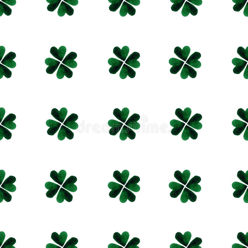 Gröna fyrklöversidor för vattenfärg bakgrundsdagpatrick st välgörenhet Hand målade illustrationen royaltyfri illustrationer