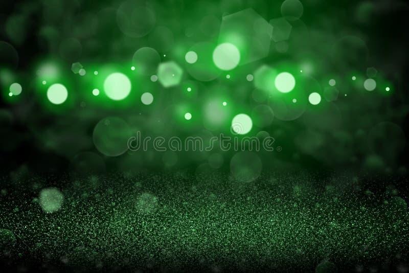 Gröna gulliga ljusa blänker bakgrund för defocused bokeh för ljus abstrakt, festivalmodelltextur med tomt utrymme för ditt innehå royaltyfri foto