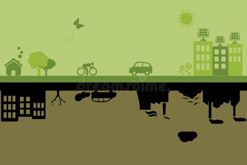 Gröna hållbara och förorenade städer stock illustrationer