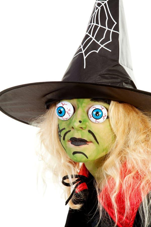 gröna halloween little ståendehäxa arkivbild