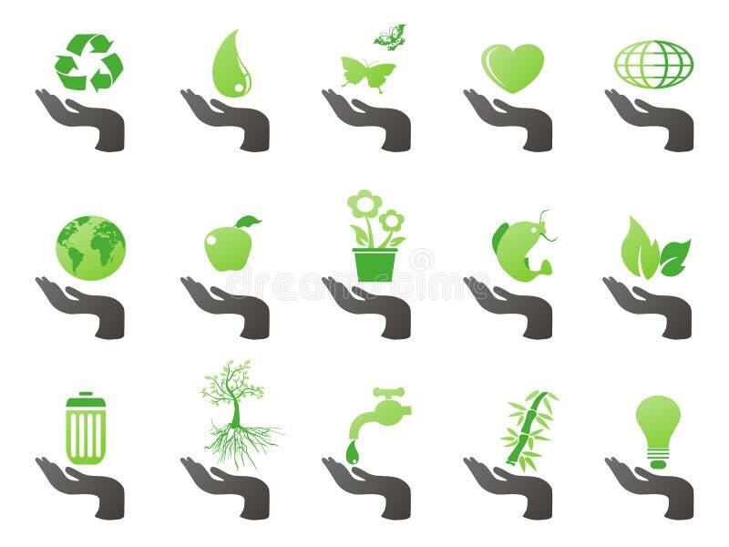 gröna handsymboler för eco royaltyfri illustrationer