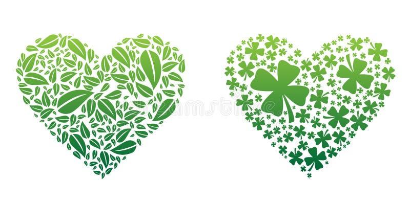 Gröna hjärtor royaltyfri illustrationer