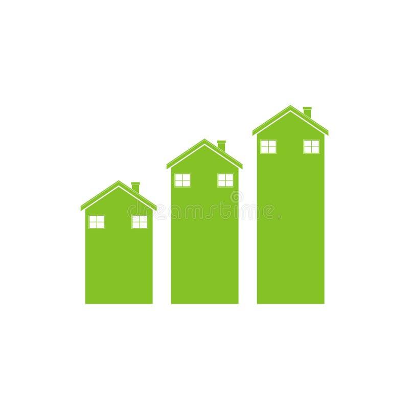 Gröna hus som flyttar sig upp, pil vektor illustrationer
