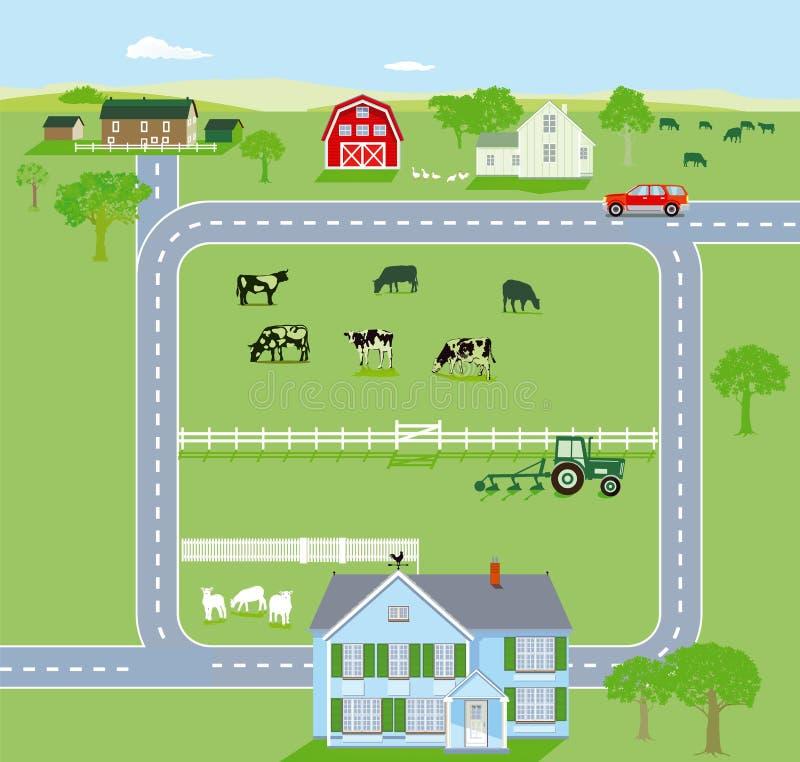 Gröna jordbruksmarker med huvudvägen stock illustrationer