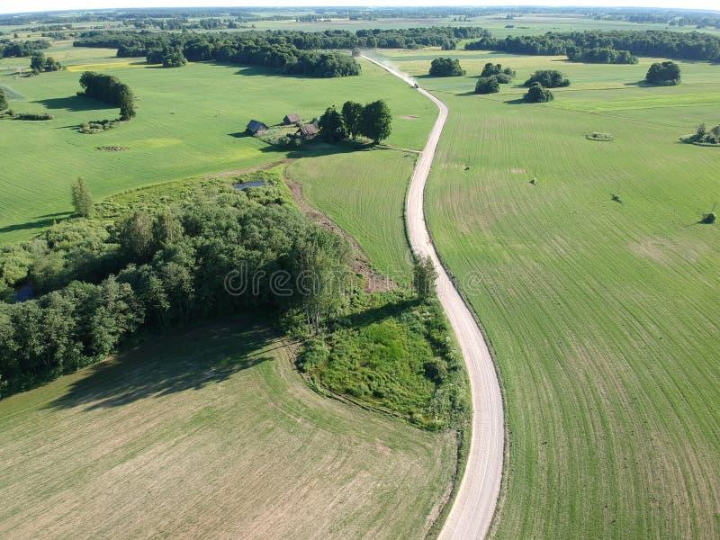 Gröna jordbruksmarkskördfält och vit grusväg som är flyg- royaltyfri fotografi
